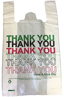 "120 Plastic Carrier Bags Thank You Printed Large Vest 11x17x19"" 24mu Strong"