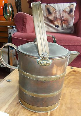 "Antique Copper hot water can / jug with lid and brass banded 7"" tall"