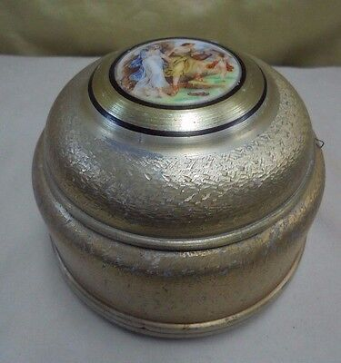 Vintage Tin Round Jewelry Powder Trinket Music Box Greek Couple Cherub