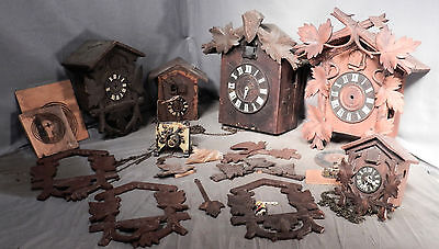 Lot Antique Vintage Black Forest Cuckoo Clock Parts Carving Cases Movements