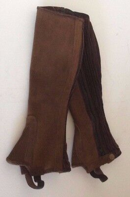 Tredstep Brown Suede Leather Half Chaps Gaiters 12/16 Side Zip Horse Riding NEW