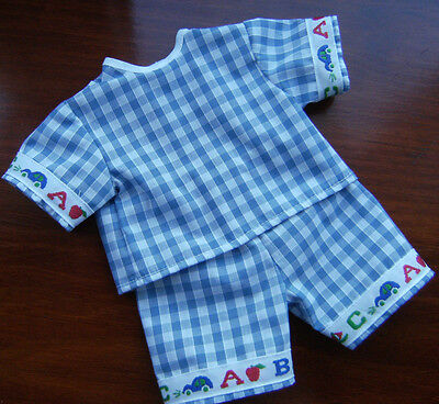 """BLUE GINGHAM with A B C TOP and SHORTS SET made  to fit 16"""" TIMMY TINY TEARS"""