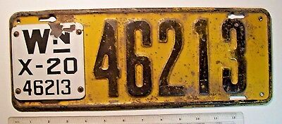 1920 Washington State Passenger License Plate 46213 (Matching Porcelain Tab)