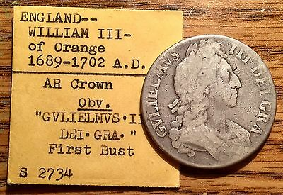 1695 Silver Great Britain Crown Octavo King William III Coin S- 2734 First Bust