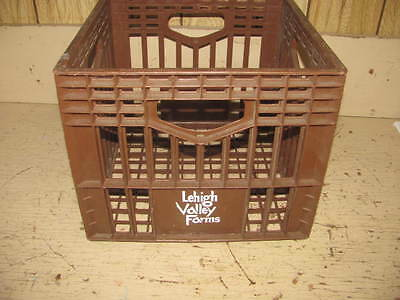Brown Plastic Lehigh Valley Farms Milk Bottle Crate Box