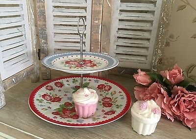 Shabby Vinatge Chic 2 Tier Ditsy Floral Cake Stand Afternoon Tea Wedding Party