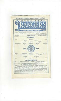 Rangers v St Johnstone League Cup 1964/65 Football Programme
