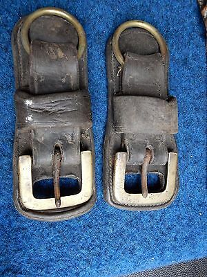 HUGE BUCKLE & LEATHER PAIR suit film prop costume to upcycle 20 x 7 cm working
