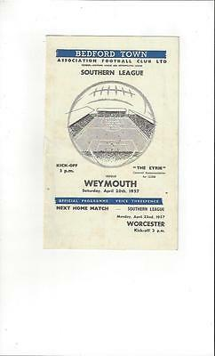 Bedford Town v Weymouth 1956/57 Football Programme