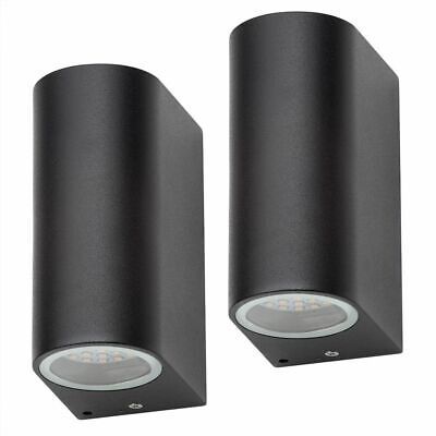 2 Pack Outdoor LED integrated Up and Down Light Wall Light Black IP44  Litecraft