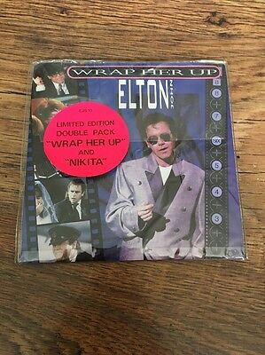 """❣RARE❣️UK LIMITED EDITION 7"""" DOUBLE PACK•Wrap Her Up/Nikita~Elton/George Michael"""