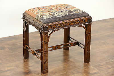 Georgian Chippendale Vintage Stool or Bench, Needlepoint Upholstery Signed NY