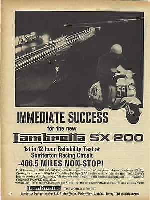 One Only! Orig. Historic 1966 Lambretta Endurance Test Scooter Sales Poster/ad