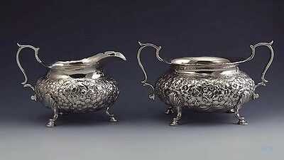 Late 1800s Antique Hand Chased American Sterling Silver Repousee Sugar & Creamer