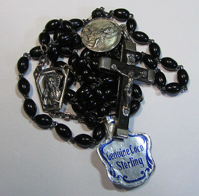 † Old Stock Nwt Vintage Sterling Black Oval Small Rosary Tag & Scapular Medal †