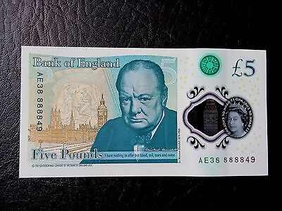 Polymer Five Pound Polymer Note new uncirculated AE3 88888 49