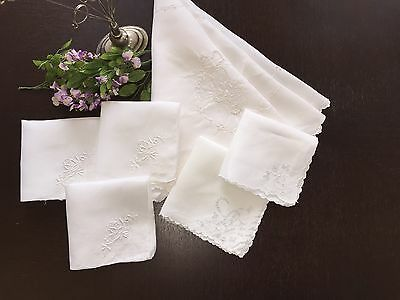 Lovely 6 Vintage Cutwork Embroidered Creamy White Tablecloth & Napkins/Hankies