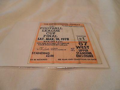 1978 League Cup Final Used Ticket.