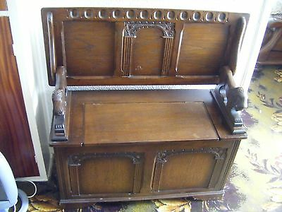 Vintage Gothic Style Solid Oak Dark Wood High Back 2-Seater Monks Bench