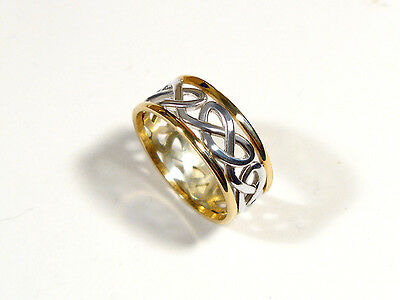 Celtic Heart knot ring in 10kt gold /sterling silver. One only in size 8.25