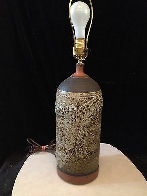 Ed Drahanchuk Vintage mid century art pottery lamp signed Canadian Listed artist