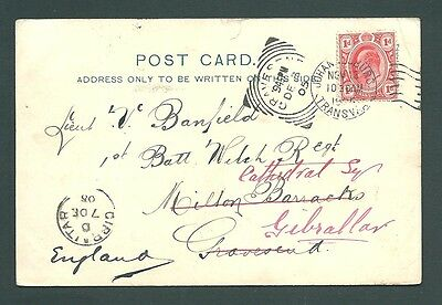 1905 postcard - TRANSVAAL to Gravesend then REDIRECTED to GIBRALTAR