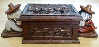 vintage MEXICO Hand Craft WOOD BOX sleeping Mexican TRINKET carved painted Folk