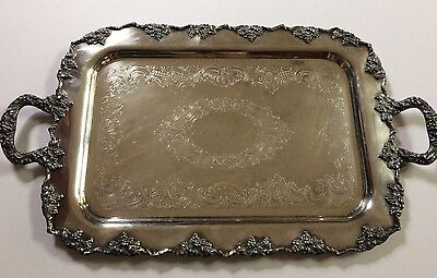 CRESENT 1092 LARGE SILVER PLATE ON COPPER TRAY ORNATE W/Grapes/2 Handles