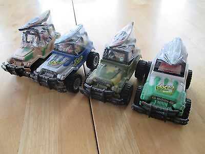 Gum Collection! Set of 4 RL Albert & Sons Toy Jeeps With Bubble Gum