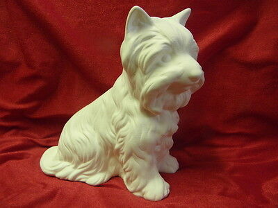 Ceramic Bisque Ready to Paint Terrier Dog 16.5cm Tall