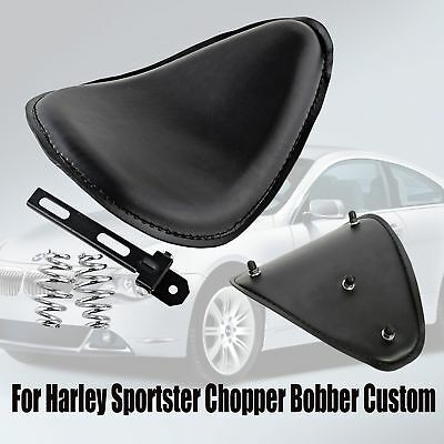 "Black 3"" Spring Bracket Solo Seat For Harley Sportster Bobber Chopper Custom"