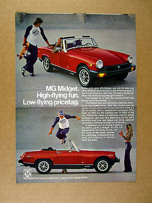 1977 MG Midget skateboarder jumping red car color photo vintage print Ad
