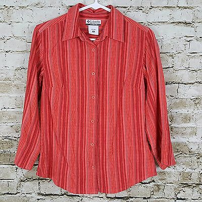 Columbia Women's Pink Multi Striped Button Down Shirt Top Blouse Size S Casual