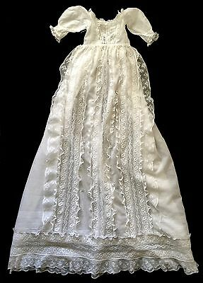 19th C. long embroidered whitework and lace Christening Gown - Hand stitched