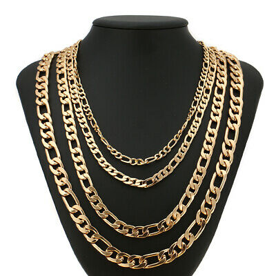 """3.5Mm-11Mm 14K Yellow Gold Plated Cuban Link Women Men's Necklace Chain 18""""-36"""""""