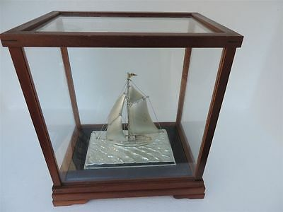 Masterly Hand Crafted Signed Japanese Sterling Silver 950 Model Yacht Ship Japan