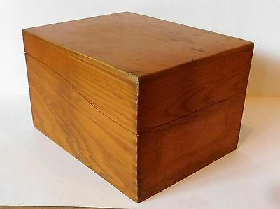 Antique Vintage Wood Index Library File Recipe Box Oak - Dovetailed - Holds 4x6