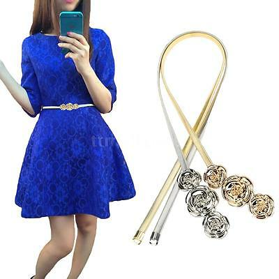 Women Metal Rose Elastic Stretch Waist Belt Strap Cummerbund Waistband NEW Y4Q7