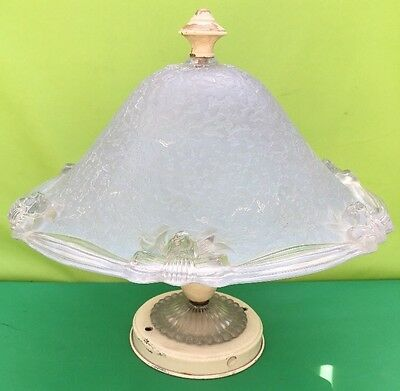Antique Lightmaster Large Victorian Frosted Glass Ceiling Light Fixture Rare