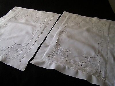 Fab Pair Antique Vtg Embroidered PILLOWCASES w/ Flange Queen Size