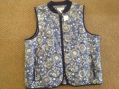 Womans Coldwater creek XL NWT Puffer Jacket Vest Foral