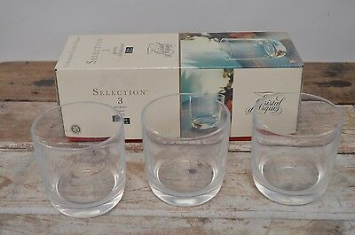 Vintage Boxed ARC Cristal D'arques 3 Old Fashioned Whisky Goblets Tumblers
