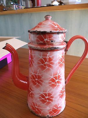 Ancienne Cafetiere Tole Emaillee  Rouge Et Blanche