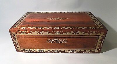 Antique Regency Brass Inlaid Writing Slope or Lap Desk. Secret Drawers. Quality.