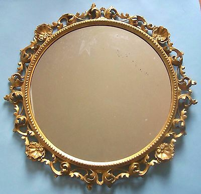 Carved Gilded Wood Florentine Framed Mirror. Intricate Details. Original Gilding