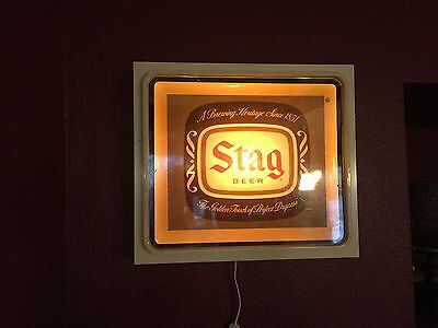 VINTAGE MAN CAVE BEER LIGHTED SIGN - Awesome Vintage Stag Beer Lighted Sign