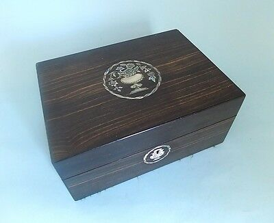 Antique Coromandel and Mother of Pearl inlaid Sewing Box. Fitted Interior.