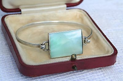 925 Sterling Silver Pastel Minty Green Mother of Pearl Bangle Bracelet