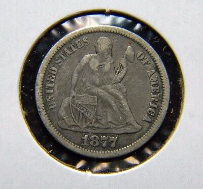 1877-Cc Seated Liberty Dime***fine Condition***ao