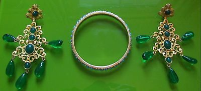 Kenneth Jay Lane Jewellery - Turquoise/Gold Bangle and Gold/Green stone Earrings